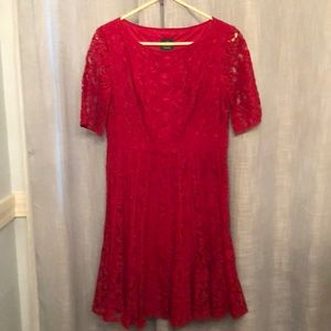 Red lace  Adrianna Papell dress size 10 Petite